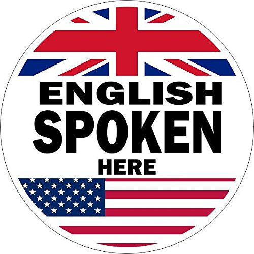 Autocollant sticker porte vitrine magasin parle anglais english spoken 5cm