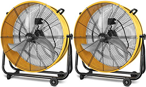 24 Inch Heavy Duty Metal Industrial Drum Fan, 3 Speed Air Circulation for Warehouse, Greenhouse, Workshop, Patio, Factory and Basement - High Velocity, Yellow, 2 Pack