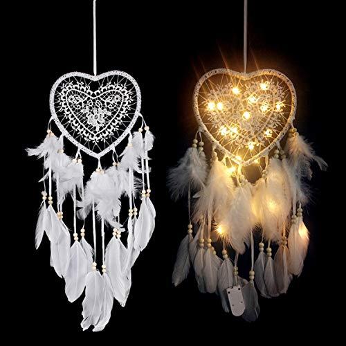 Yinuoday Atrapasueños de plumas blancas con luz LED para colgar en la pared, decoración para dormitorio o boda, adorno de regalo (forma de corazón #A)