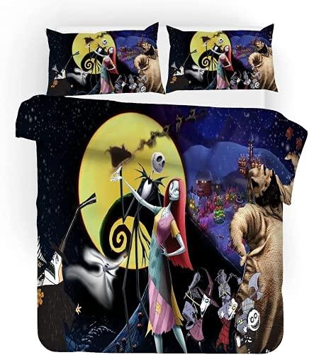 Juego de ropa de cama 3D, diseño de Pesadilla antes de Navidad, Ack and Sally Couple, funda...
