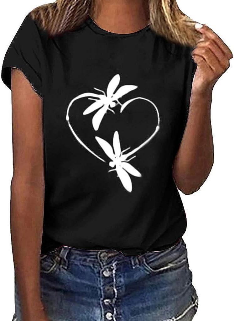 FABIURT Short Sleeve Shirts for Women Plus Size Women's Short Sleeve V-Neck Shirts Loose Casual Tee T-Shirt Black