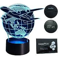 InnoWill 照明 節電 贈り物 7色変更可 誕生日プレゼント夜灯 三次元視覚化 雰囲気作り テーブルランプ クリスマス ギフト デスクライト ベッドサイドランプ (飛行機 地球)