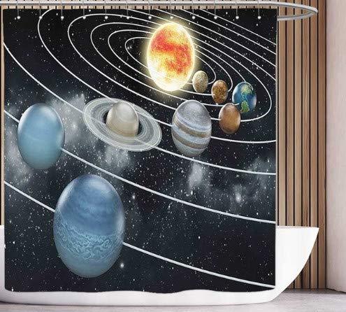 Spaß Duschvorhang Galaxy Weltraum Thema Planet Erde & Mars im Weltraum Entdeckung des Universums Astronomie Kunst Marineblau Rosa 180 * 180cm