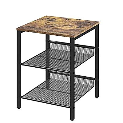 Petiture Sofa End Table, Nightstand with 2 Adjustable Mesh Shelves, Industrial Printer Side Table for Living Room, Stable Metal Frame, Easy Assembly, Industrial Rustic Brown