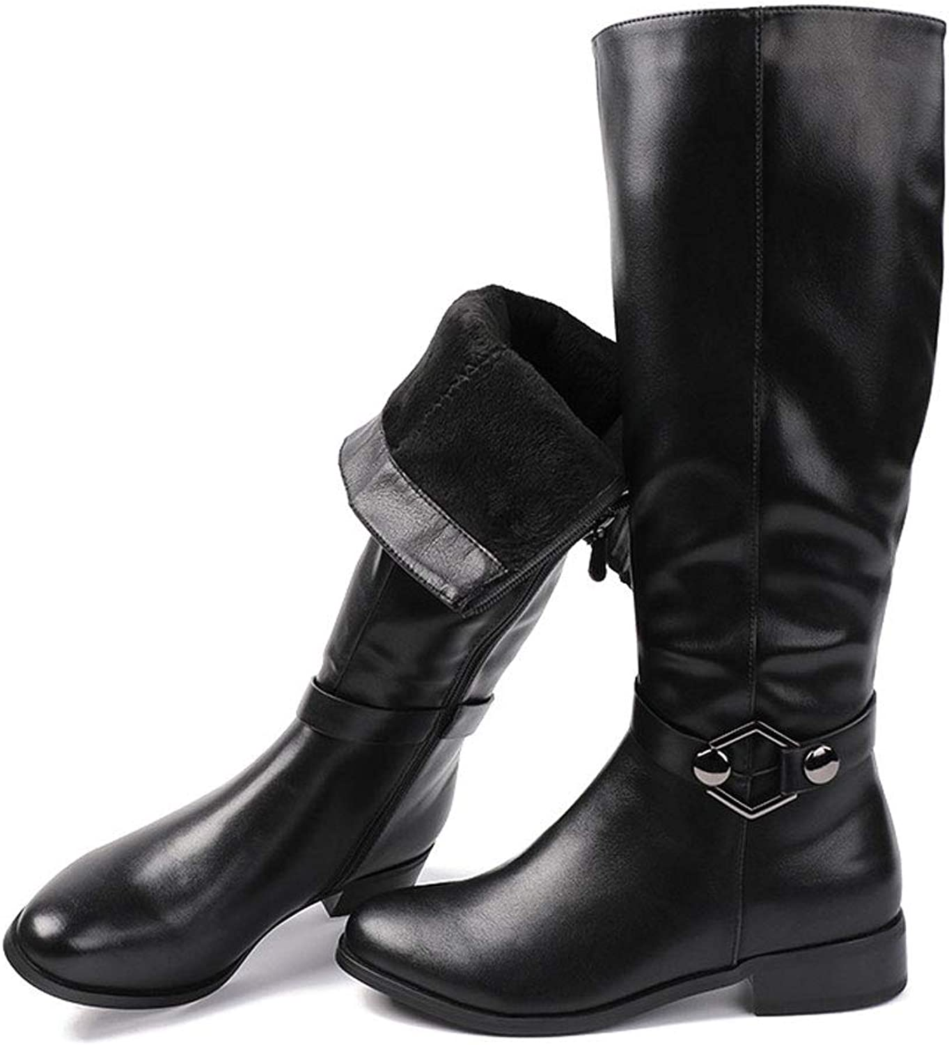Women's Boots, Knight Boots Zipper Comfort Round Head Belt Buckle High Tube Artificial Leather Warm Thick Low Heel Thick Heel Black