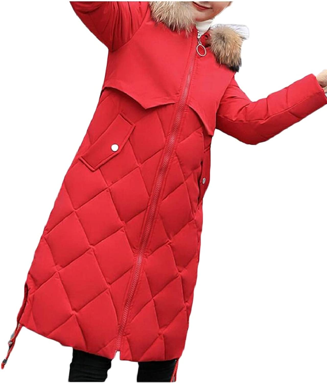 Keaac Women Thicken Plaid Faux Fur Hooded Parkas Puffer Coats Down Outerwear