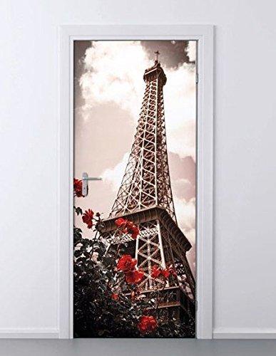 MELINERA® Tür Dekofolie (Motiv: Paris - Eifelturm)