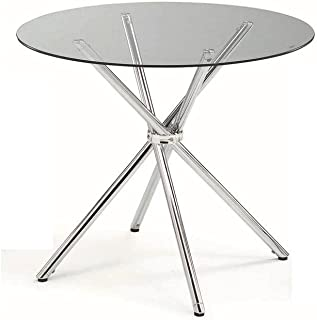 New Spec Inc Round Dining Table, Metal & Glass