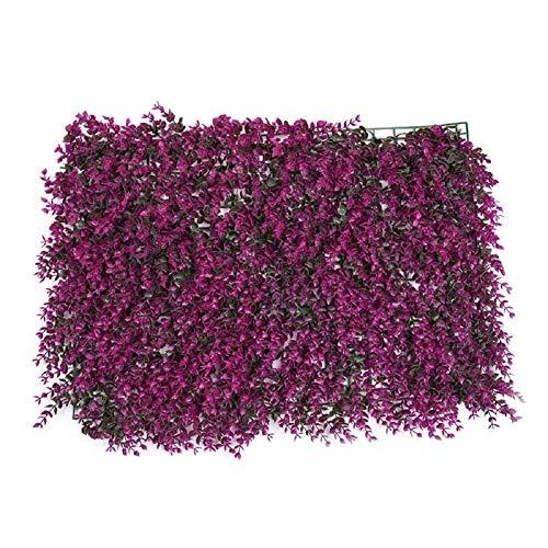 Haie de buis artificiel (feuilles et fleurs) - Décoration pour la maison, le jardin, le balcon, la terrasse - Intérieur ou extérieur - 63 x 44 cm 6PCS Style_D