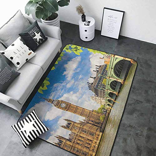 Soft Area Rug for Children Baby London Decor Collection,Historical Architecture Big Ben and Westminster Bridge Seen Behind Fresh Spring Leaves Picture,Blue Green Ivory 80'x 96' Rugs for Bedroom