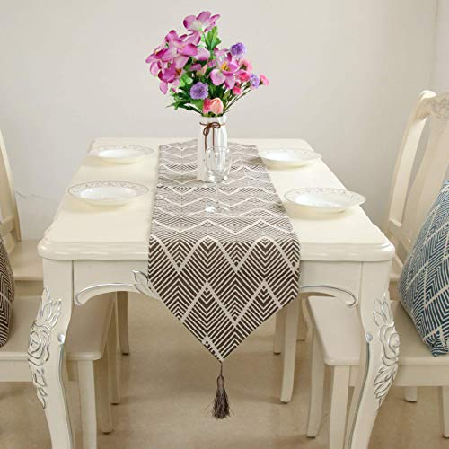 LY88 Embroidered Tassel Home Decorative Party Gift Table Runner Brown 32x200cm