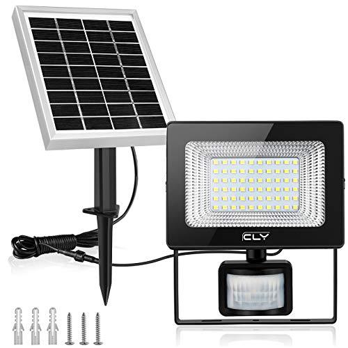 CLY Faretto Solare con Sensore di Movimento 60 LED, Luce Solare da Esterno, Faro Pannello Solari Impermeabile(IP66), Lampada Solare da Esterno con Sensore, 6500K Bianco per Giardino