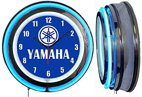 Checkingtime LLC 19  Yamaha Blue Neon Clock, Blue Outside Tube, Two Neon Tubes