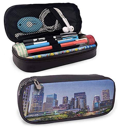 City Leather Pencil Case mit Reißverschluss, Los Angeles Winkel Skyline Urban USA Stadtbild Wolkenkratzer Highway Avenue Bäume Perfect Size Beutel für Schreibwaren & Kunstutensilien Mehrfarbig