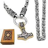 Collar de Vikingo para Hombres Acero Thor Thor Hammer Hebilla Cadena Cadena Cultural Flecha Dominio Dominio Rey Collar,Oro,50cm