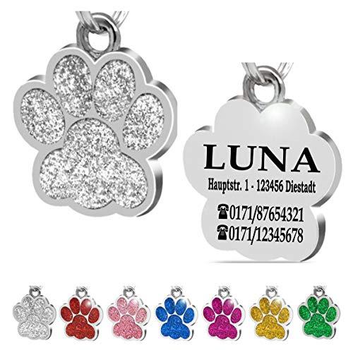 Iberiagifts - Hundemarke Pfote mit Gravur für kleine bis mittelgroße Hunde oder Katzen - Plakette graviert personalisiert (Silber)