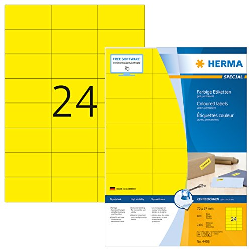 HERMA 4406 Farbige Etiketten DIN A4 (70 x 37 mm, 100 Blatt, Papier, matt) selbstklebend, bedruckbar, permanent haftende Farbetiketten, 2.400 Klebeetiketten, gelb