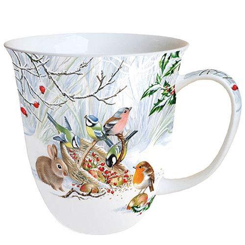 Ambiente Porzellan Tasse ca. 400ml Becher Bone China Mug Für Tee Oder Kaffee Herbst Winter Weihnachten Winter Treat Rotkehlchen