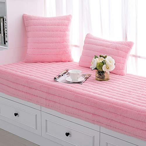 YANNI pluche tuinbank kussen, pastelorale niet-slip bay window sill pad voor patio meubels keuken of eetbank binnen en buiten te gebruiken 80x160cm(31x63inch) roze