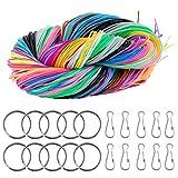 ZITFRI 200pcs Hilos Scoubidou Cuerda Cordón Plastico Scoubidou 20 Colores para Collar Pulseras Abalorios Manualidades DIY Trenzada Cuerda de Cuentas Cuerda de Colores con 20 Clips, 20 Llaveros