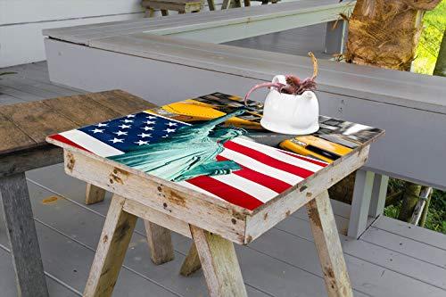 Wallario Aufkleber Selbstklebende Garten-Tisch-Decke - New York Collage in 90 x 90 cm