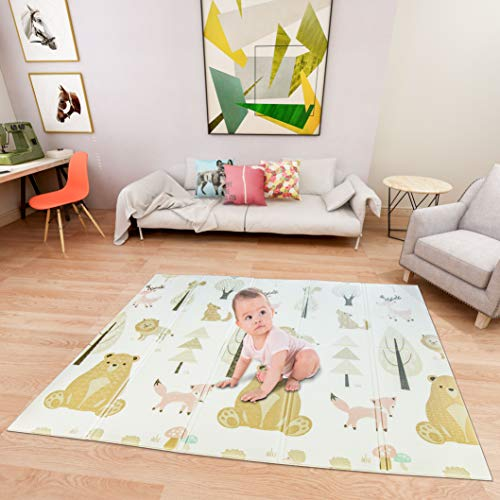 Lanboro Kids Play Mat, Waterproof and Foldable Play Mat for Baby, Double-Sided Crawling Mat for Toddlers, Leanring 3D Textured Alphabet, Playmats for Babies 61''x 78''x 0.4''