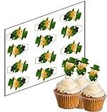 12 Kobold Cupcake Stecker für St. Patricks Tag 'Aufrechtständer' reispapier kuchendekorationen...