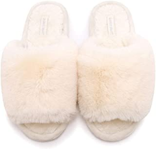 HUMIWA Women's Fuzzy Fur Flat Slippers Soft Open Toe House Slippers Memory Foam Sandals Slides Home Slippers for Girls Men Indoor Outdoor