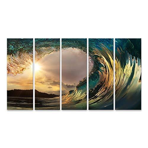 islandburner, Cuadro Cuadros Hermosa Ola de Surf en la Playa del Atardecer Impresión Lienzo Formato Grande Cuadros Modernos RUL