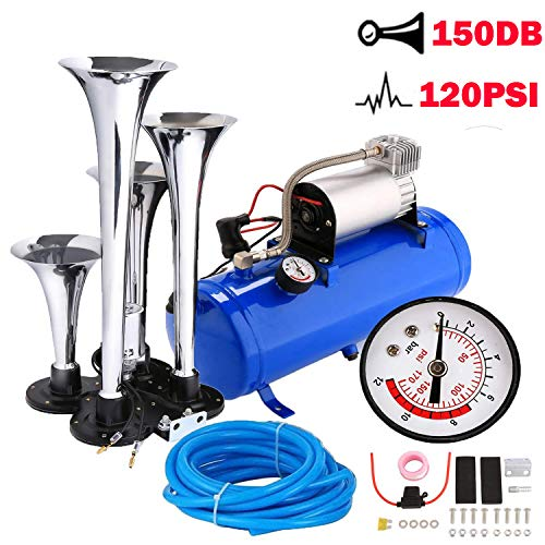 4 Trumpet Train Air Horn with 12 Volt Compressor and Kit Set for Vehicle Trucks Car SUV (Blue)