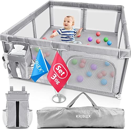 KRIBLEX® Laufstall Baby Faltbar | 180x150 cm | Laufgitter mit Windel Organizer & Transporttasche | Sicher Klappbar Platzsparend | Absperrgitter Schutzgitter XXL | Hellgrau
