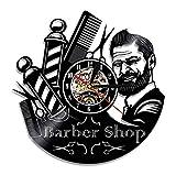 OLB&VNM Barbiere Segno Orologio da Parete Barbieri Palo Disco in Vinile Orologio da Parete Parrucchiere Parrucchiere Strumenti per Capelli Forbici Barbiere Regalo di opere d'Arte