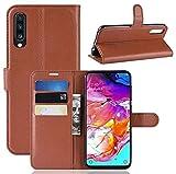 CoverKingz Handyhülle für Samsung Galaxy A70 - Handytasche mit Kartenfach A70 Cover - Handy Hülle klappbar Braun