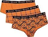 R.E.D. by EMP Conjunto de 3 Bragas Naranjas con Diferentes diseños Mujer Set de Braguitas Naranja L