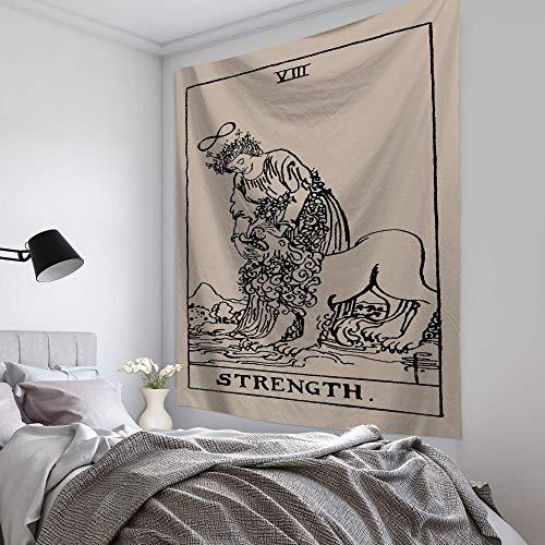 XIAOBAOZIGT Tapiz De Pared Grande,Tarot Vintage Fuerza Psicodélico Bohemio Colgantes De Tela Impresos Digitales 3D Arte Hippie Tapiz Decoracion Dormitorio Sala Playa Cojín 150×130Cm,