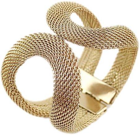 Earrings for Women Men,Women Mesh Wide Alloy Spring Cuff Bracelet Jewelry Punk Bangle