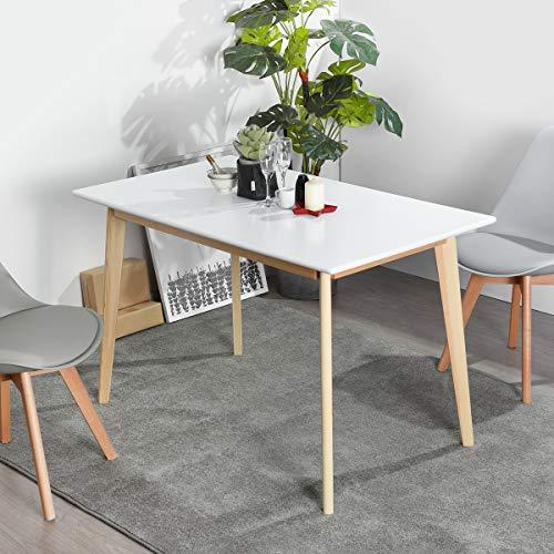 FURNISH1 Elegante Mesa de Comedor para el Comedor 120 * 70 * 75CM - Patas de Madera, Bandeja de Color Blanco