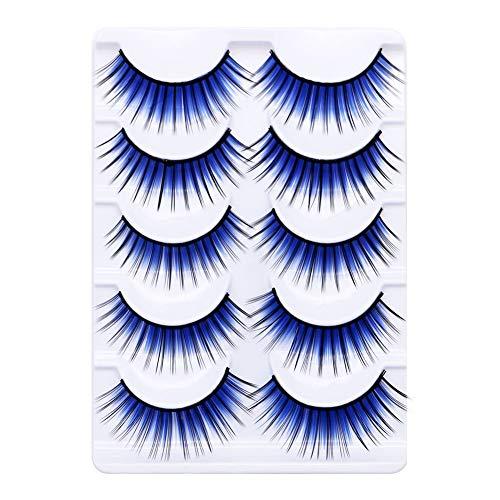Colorful False Eyelashes,5Pairs Colorful Long Thick Fake Eye Lash Makeup Stage Party Eyelash Extension for Women Soft Handmade Eye Makeup Eyelashes Blue