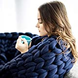wdede Chunky Knitted Blanket, Merino Wool Blend Arm Knit Throw Super Large Hand Knitting Yarn Pet Bed Chair Sofa Yoga Mat Rug Navy Blue 120CMx180CM