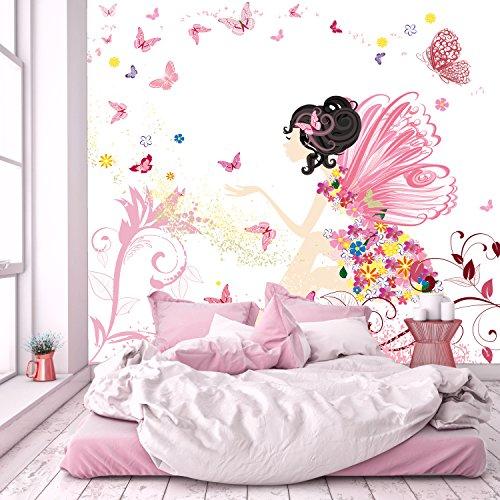 murimage Fototapete Kinderzimmer 274 x 254 cm inklusive Kleister Fee Blumen Schmetterlinge Mädchen Rosa Kinder