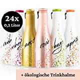 Justbe Drinks MixPack Sekt | 24 x 0,2 L | spritzige Weincocktails in verschiedenen Geschmacksrichtungen | elegante Aluminiumflaschen | Aperitif | Party-Drink | Perlwein | Piccolo | inkl. Trinkhalme