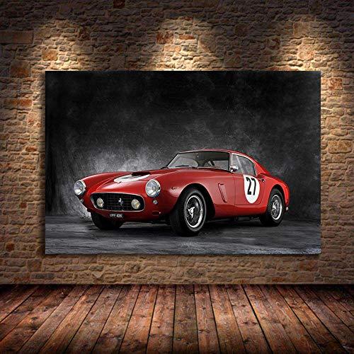 VVSUN Retro Supercars Posters Ferraris 250 Sport Car Imagen Impresión y póster Arte de la Pared Pintura en Lienzo para decoración del hogar 60X90cm 24x36 Pulgadas Sin Marco