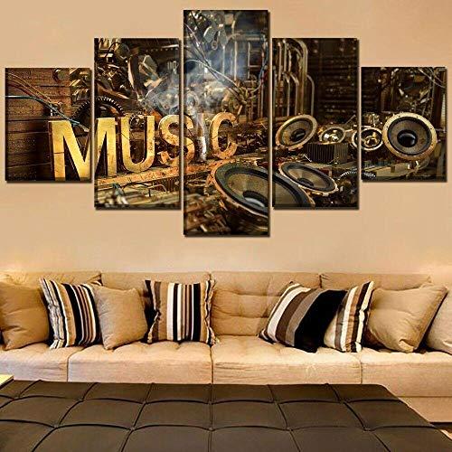 IIIUHU Leinwanddrucke Kreatives Geschenk 5 stück Leinwand Bilder Hd Drucke Poster abstrakt Musik Steampunk Vintage Moderne Wandbilder XXL Wohnzimmer Wohnkultur