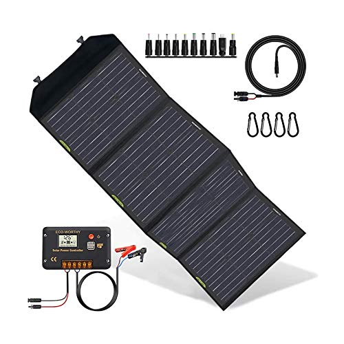 ECO-WORTHY 120W Solar Ladegerät Faltbares und außen wasserdichtes Solarpanel mit 20A LCD-Kontroller mit USB Tragbares Ladegerät in der Tasche für Camper