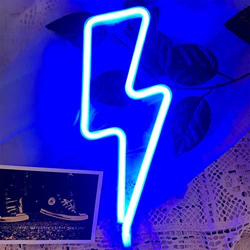 LED Blitz Neonlicht - Protecu USB batteriebetrieb Nachtlicht für Wanddekoration | LED Deko Neon Lichter für Bar Partys Kinderzimmer Schlafzimmer (Blau)