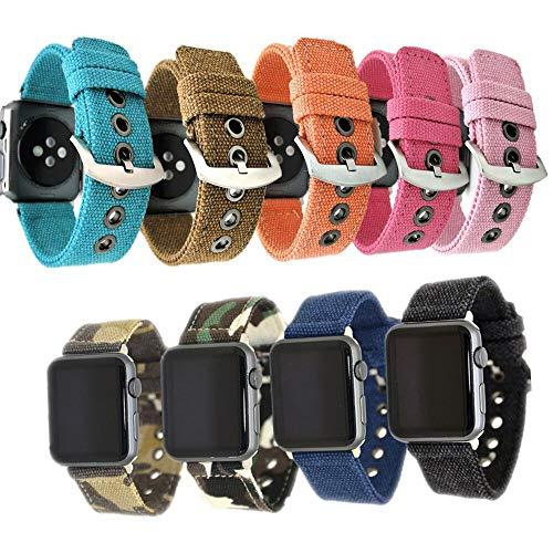 JWNCOAZS Bracciale Mimetico in Nylon/Tela di Design Speciale Denim per Cinturino Apple Watch 38mm 42mm 40mm 44mm per Cinturino Iwatch Serie 5 4 3 2 1 44mm Taglia Blu
