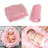 Newborn Baby Photo Props Wraps & Photography Mat Soft Faux Fur Photography Backdrops Long Ripple Wraps DIY Blanket Swaddle Photography Props for Baby Girl Or Boy (Pink)