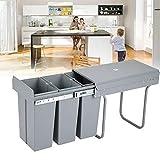 TFCFL Cubo de basura bajo para cocina extensible, 3 cubos de 10 L, sistema de basura, sistema de separación, montaje en suelo, separación de 3 unidades