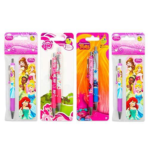 Premium Ballpoint Pen Set for Girls Bundle - 6 Pack Disney Princess, My Little Pony, Trolls Pen Value Pack with Bookmarks (School Supplies Office Supplies)