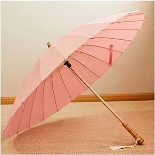 XingKunshop Umbrella Retro 24 Bone Straight Shank Long Umbrella Parasol Summer,Strong Windproof,Outdoor (Color : Pink)